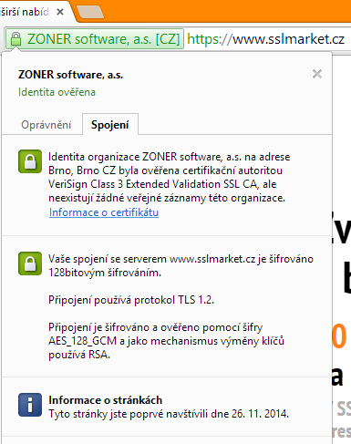 EV certifikat v Google Chrome