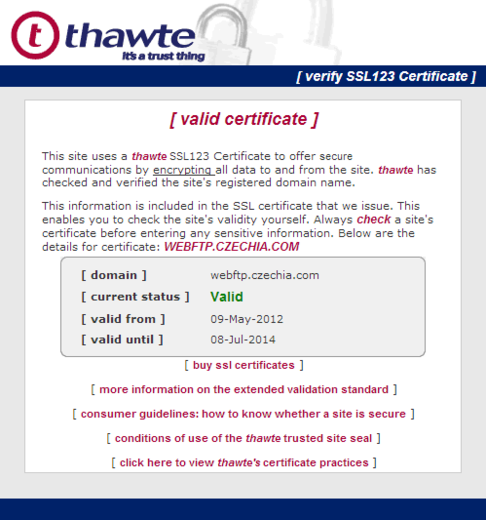 Detail Thawte trusted site seal