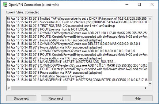 Log aplikace OpenVPN